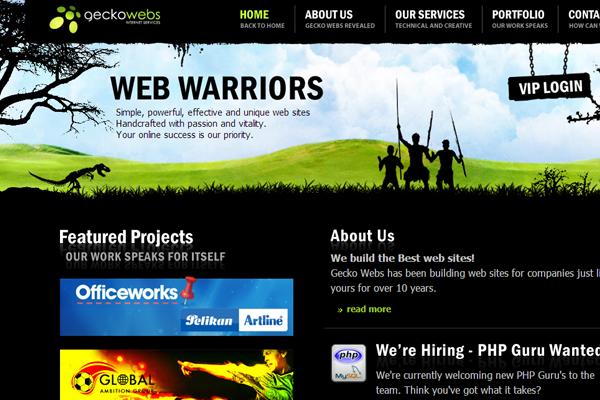 green black dark website interface GeckoWebs
