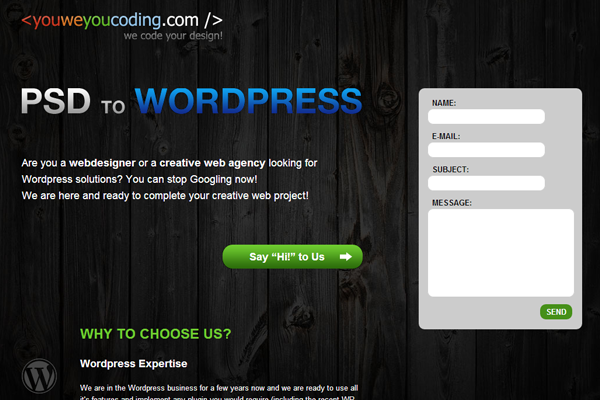 dark WordPress coding themes from PSD layout