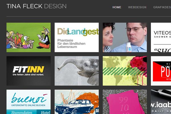 Tina Fleck designs portfolio website clean dark interface