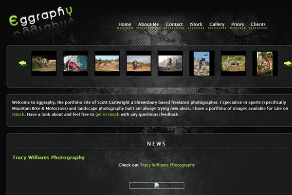 Eggraphy dark interface website layout