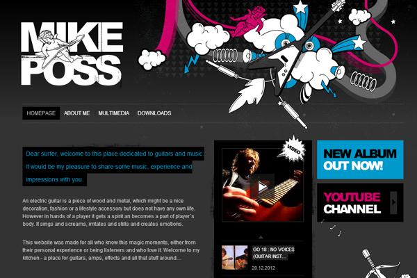 dark blog rocking guitar music posts website layout