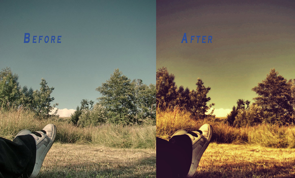 photoshop retro layouts golden photograph effects
