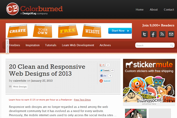 Colorburned Wordpress Web Design Blog Layout 2013