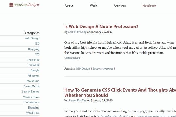 vanseo design blog website interface tutorials