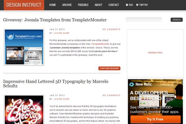 Design Instruct website layout blog 2013