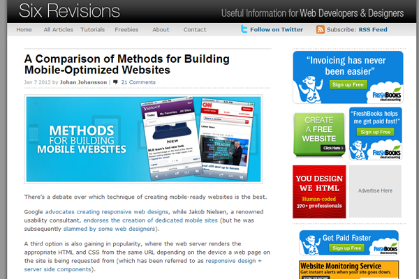 sixrevisions blog website layout designs