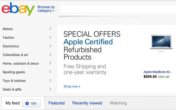 eBay homepage screenshot