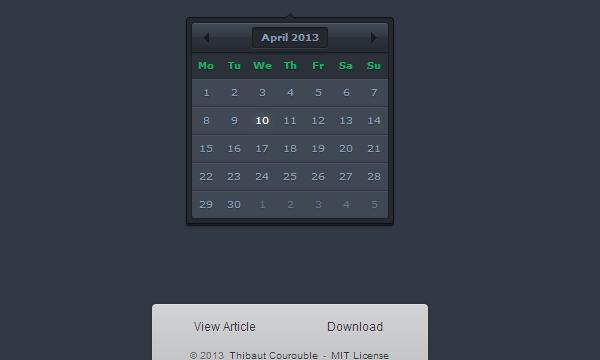 dark website interface date picker ui