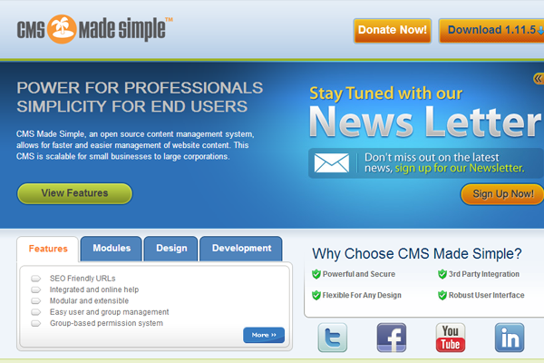 website homepage cms made simple php mysql