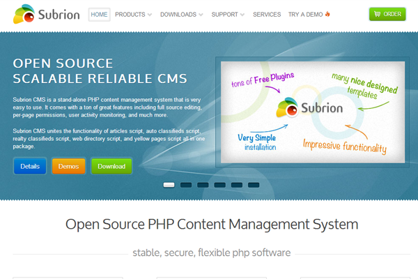 php mysql open source project cms website subrion