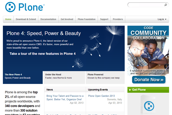 open source plone cms website interface