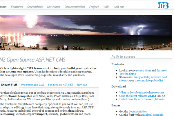 ASP.NET open source content management system n2 website