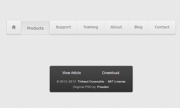 light horizontal navigation bar tabs links freebie open source