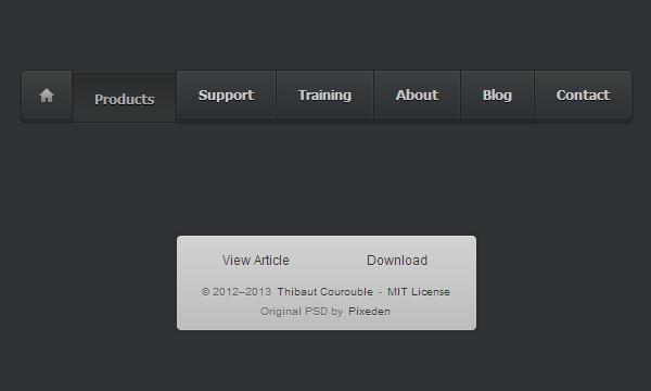 dark block buttons navigation links css3 html5