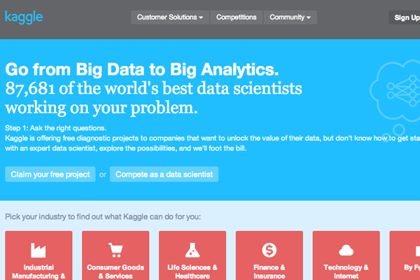 kaggle startup website layout flat user interface