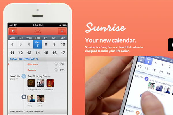 sunrise iphone mobile app interface ui