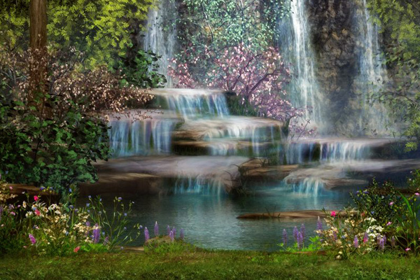 waterfall flowers grass greenery shrubs