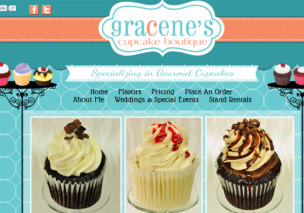 boutique gracene cupcake website layout ui design