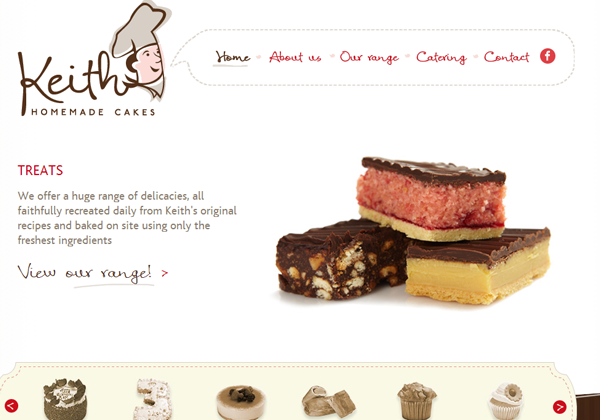 keith cakes homemade website ui layout design