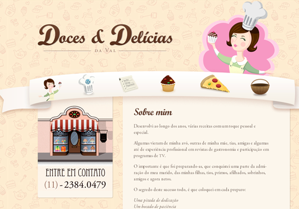 delicia doces bakery website ui layout