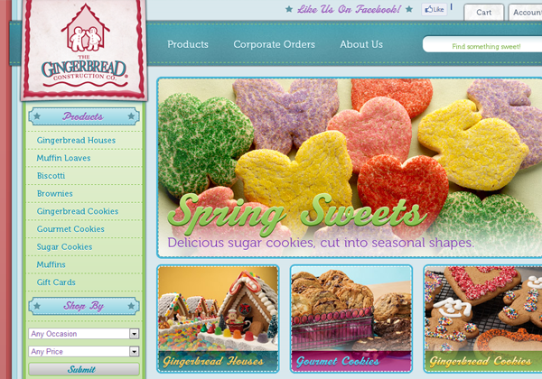 gingerbread bakery website design layout