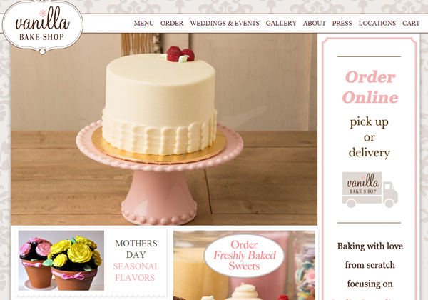vanilla bake shop website ui inspiring layout