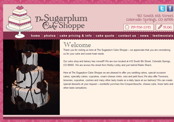 sugar plum cake shoppe website layout designs