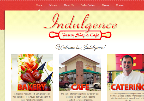 indulgence pastry cake shop website layout designs