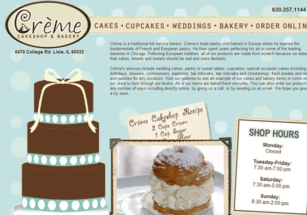 creme cake shop bakery shoppe ui design