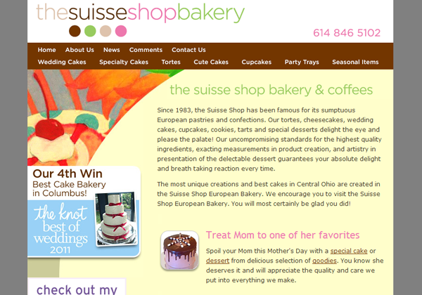 sweets baking sales website layout ui design