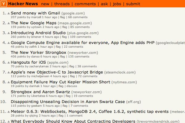 hacker news frontpage design startups information