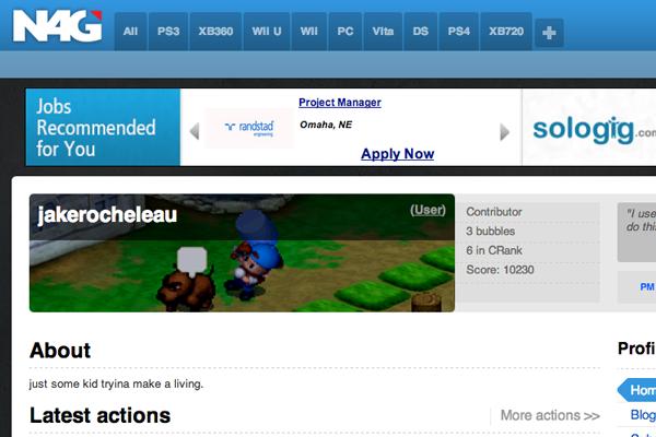 n4g social news gaming website layout design