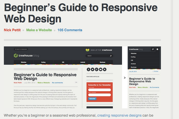 blog treehouse articles responsive web design