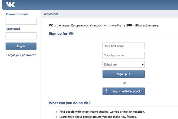 vk russian social networking website homepage design