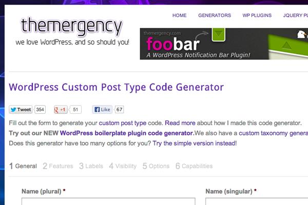 Wordpress custom post types generator
