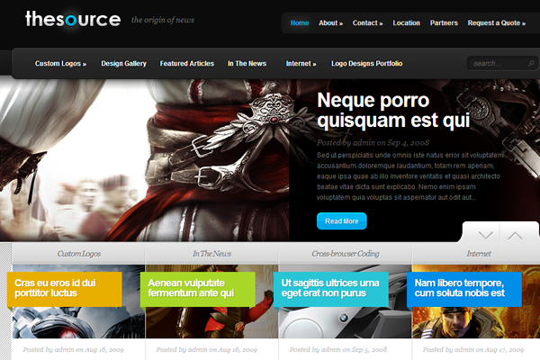 source gaming weblog layout theme