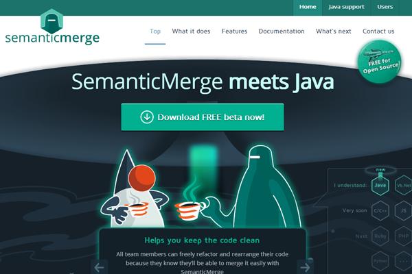 semanticmerge website homepage parallax branding java programming