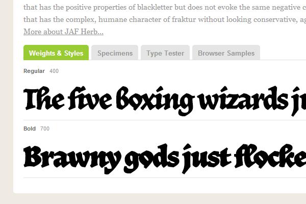 jaf herb typekit fancy webfont script