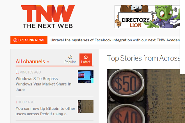 TNW homepage red banner logo branding