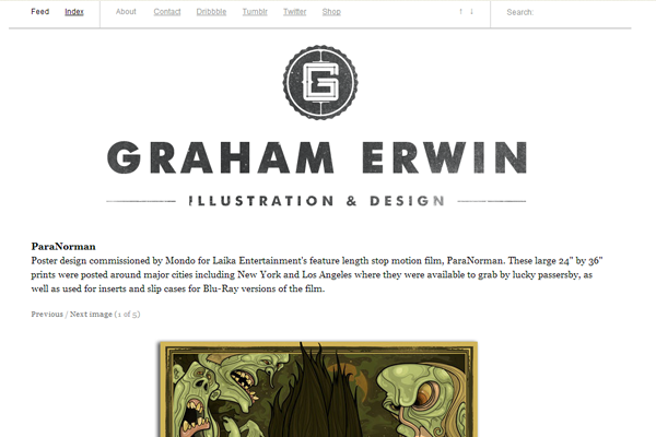 graham erwin website portfolio layout