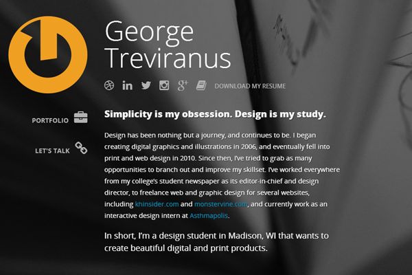 george treviranus website portfolio layout