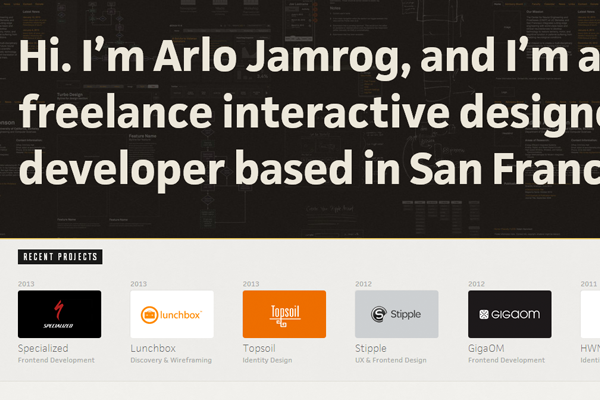 arlo jamrog portfolio website layout
