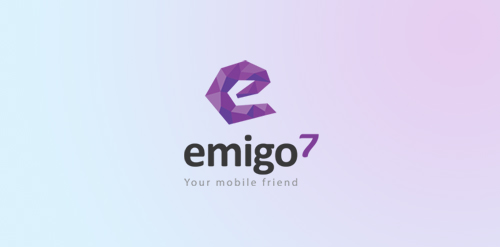 emigo bright colorful purple logo