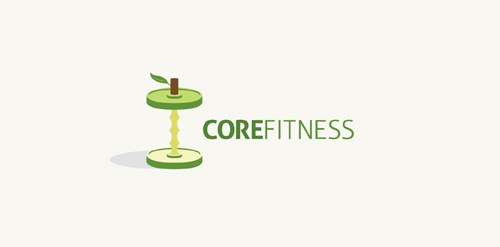 green apple core icon logo design