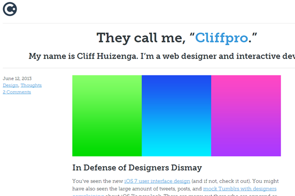 cliff huizenga portfolio website layout