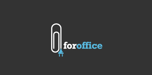 office paper clip logo dark icon