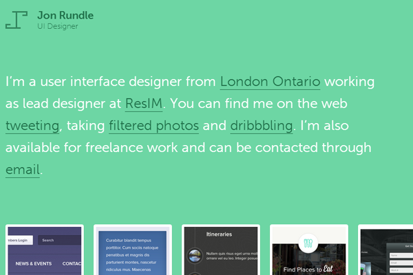 green portfolio website jon rundle
