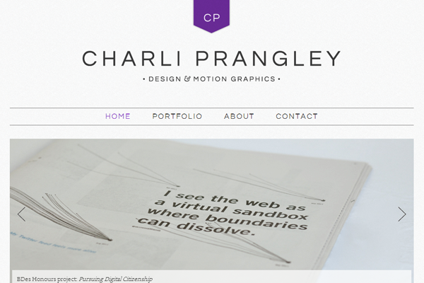 charli prangley portfolio website layout
