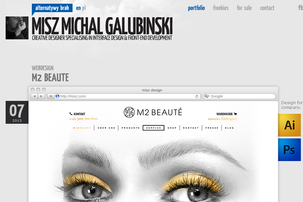 michal galubinski website portfolio layout