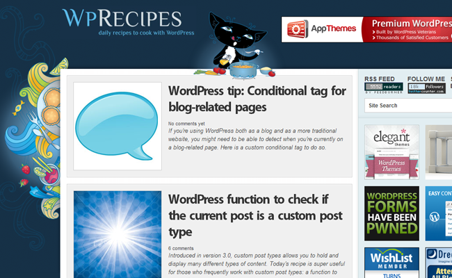 wordpress code snippets blog recipes